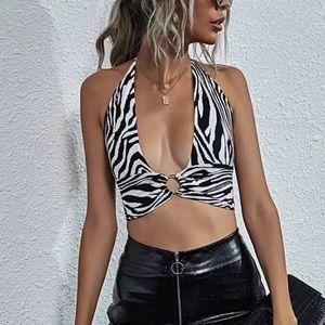 Zebra print O ring tie back halter top size Small